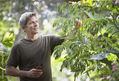Man outdoors gardening