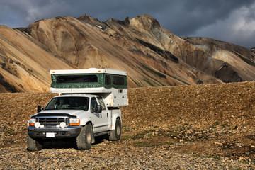 Off-road camper in Iceland mountains - Landmannalaugar