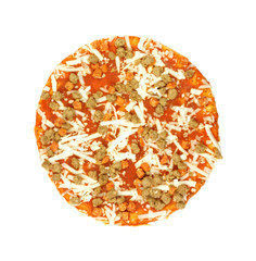 Top view of small frozen pizza