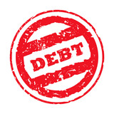 Red used debt stamp poster
