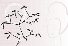 Skład ikebana z oknami, księżyc i gejsza