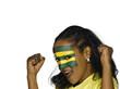Frau mit Togo Flagge auf Gesicht gemalt, Fußballfan