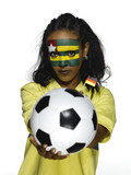 Female soccer fan from Togo, portrait