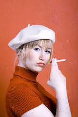Rauchen Frau jung, Portrait