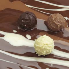Schokolade trüffel, close-up