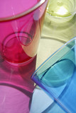 Plastic beakers, close-up