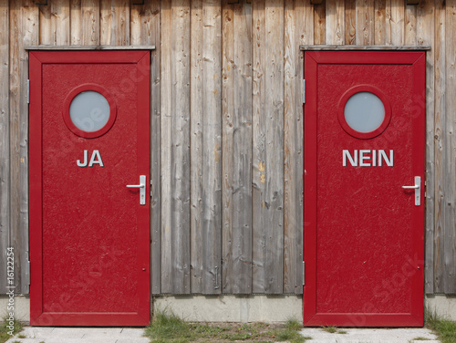 Two red doors, close-up