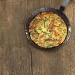 Spanisch Tortilla in gusseisernen Pfanne
