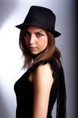 in black hat