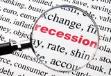mot recession rouge sous la loupe poster