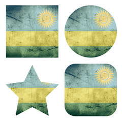 set of 4 grunge flag buttons of rwanda
