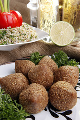 Fried Kibbe, Tabouli and Hummus Tahine