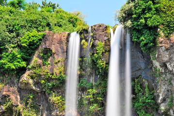 Low shot of majestic waterfall