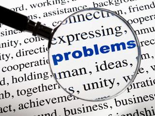 mot problems Problèmes bleu sous la loupe