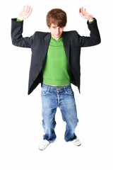 businessman or young adult student lifting heavy load.