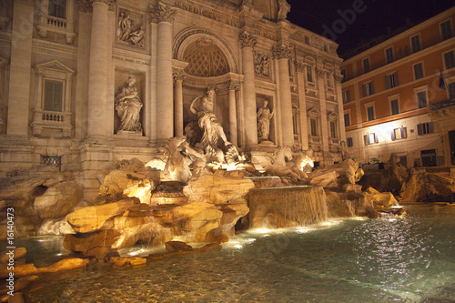 Trevi Fountain Overview Night Rome Italy
