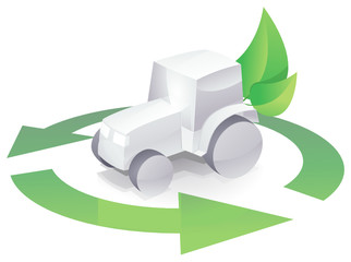 Tracteur blanc recyclable (reflet)