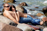 Sensual couple in jeans poster