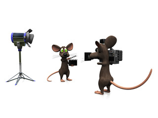 Cartoon mice filming.