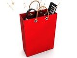 red shopping with rendered musical equipments