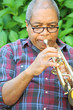 African american male trumpet player.