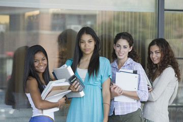 Four teen school girls