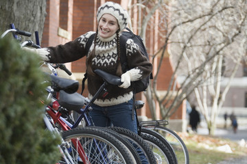 College girl with bike
