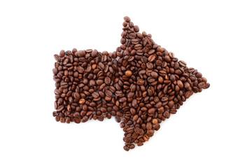 coffee beans arrow