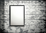 exhibition - blank frame on an old brick wall poster
