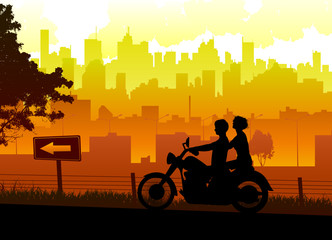 couple travel with motorcycle