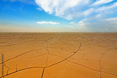 Foto op Plexiglas Droogte Dry crack field under blue sky