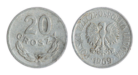 Old Polish grosz coin on the white background (1969 year)