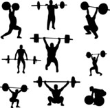 weightlifters silhouettes collection - vector poster
