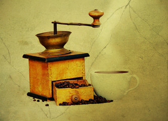 coffee mill and cup of hot black coffee in grunge style