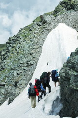 People in high  hike