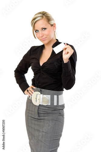 businesswoman holding a blank businesscard