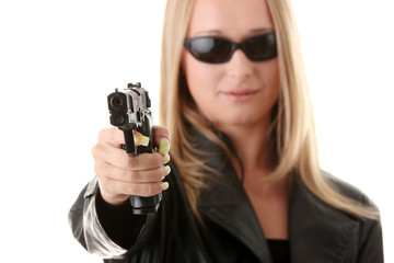 Portrait of the blonde with gun