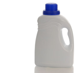 white plastic detergent bottle with reflection