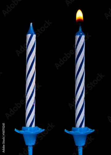 Birthday candles on black background