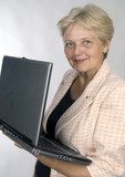happy older pensioner woman with computer poster
