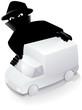 Camionnette blanche et un voleur (reflet) - 16172475