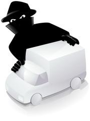 Camionnette blanche et un voleur (reflet)