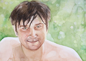 watercolor man's portrait