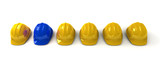 Red hardhat among yellow ones poster