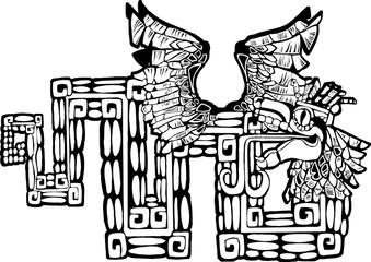 Black and White Mayan Kukulcan Image