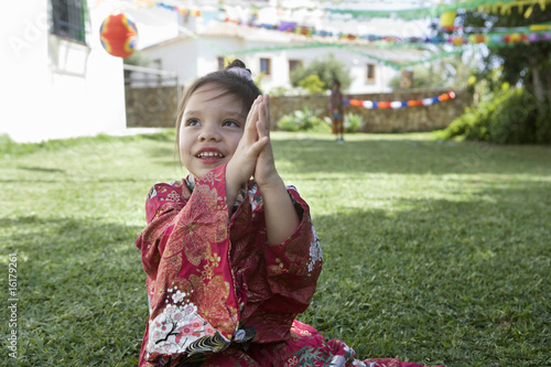 Young girl in costume at birthday party