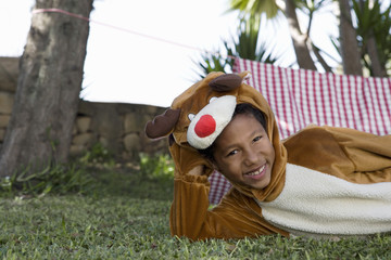 Young boy in moose costume