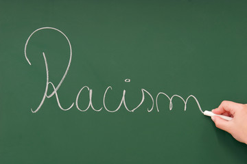 Racism written on a blackboard