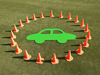Cutout of car surrounded by traffic cones