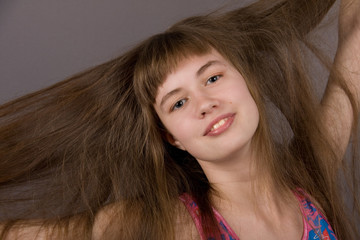 Girl with Long Blond-Brown Hair